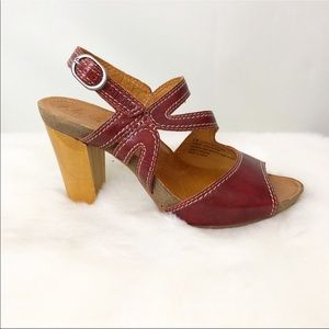 Naya Red Leather Heel Sandals Size 8